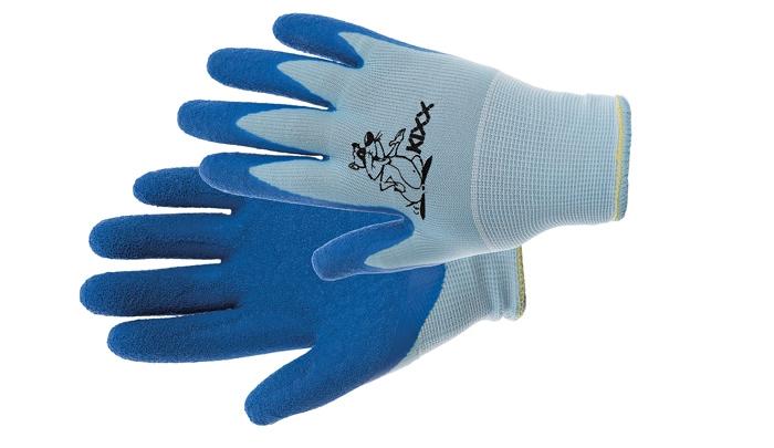 Dětské rukavice nylon. latex. dl modrá vel.4