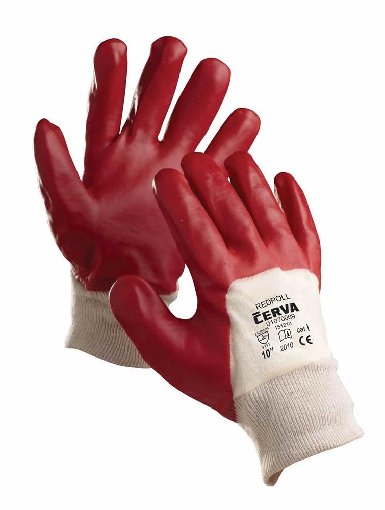 Červa Reddpoll pracovní rukavice polomáčené v PVC - 10