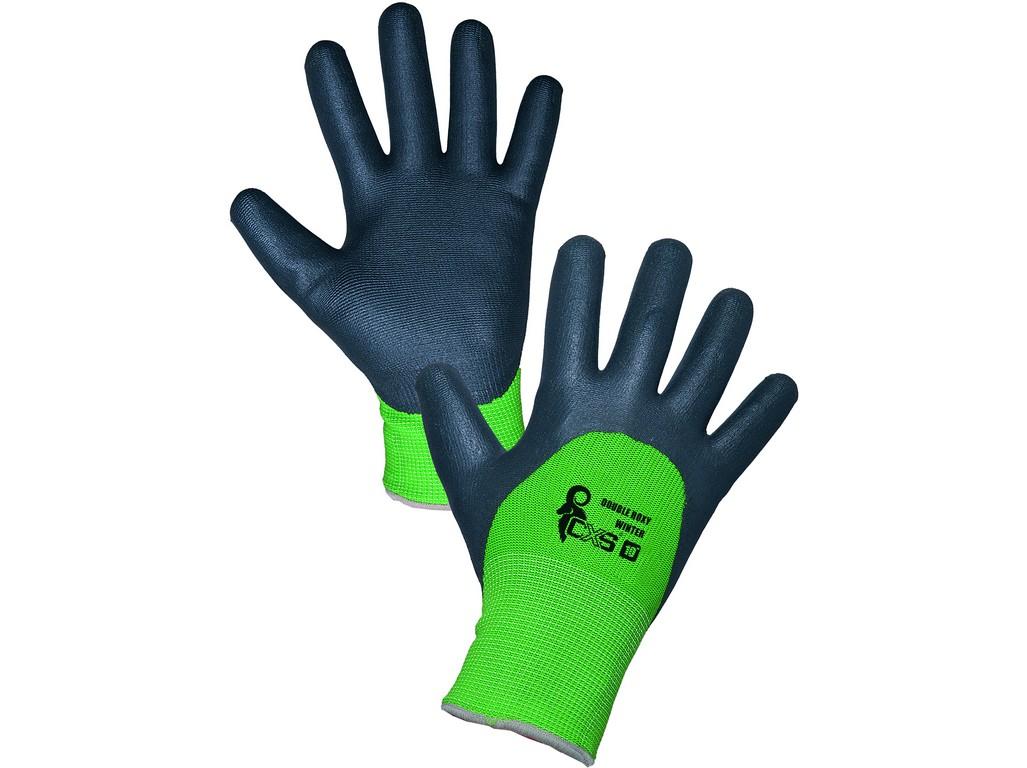 CXS Povrstvené zimní rukavice ROXY DOUBLE WINTER, černo-zelené, vel. 10